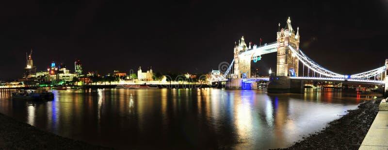 在泰晤士河晚上全景的伦敦桥梁,英国 免版税库存图片