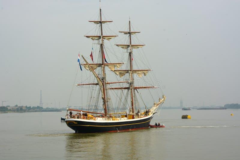 在泰晤士河英国的高船Morgenster 库存图片