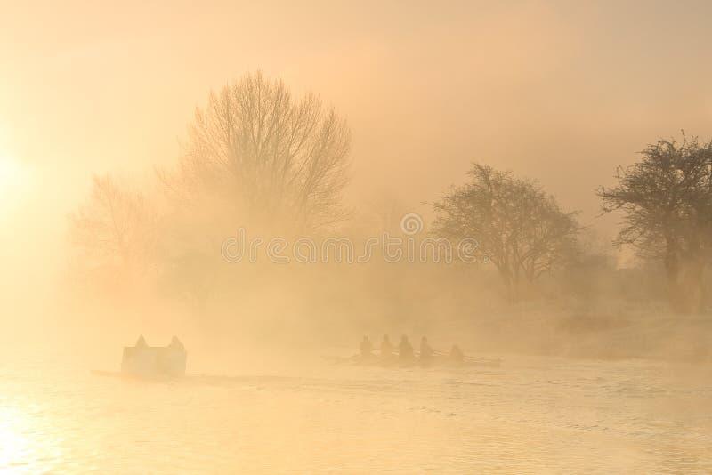在泰晤士的划船训练在牛津 免版税库存图片