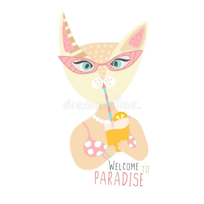在泳装的逗人喜爱的猫有鸡尾酒的 欢迎在天堂 时间放松 休息旅行 手拉的动物 夏天 库存例证