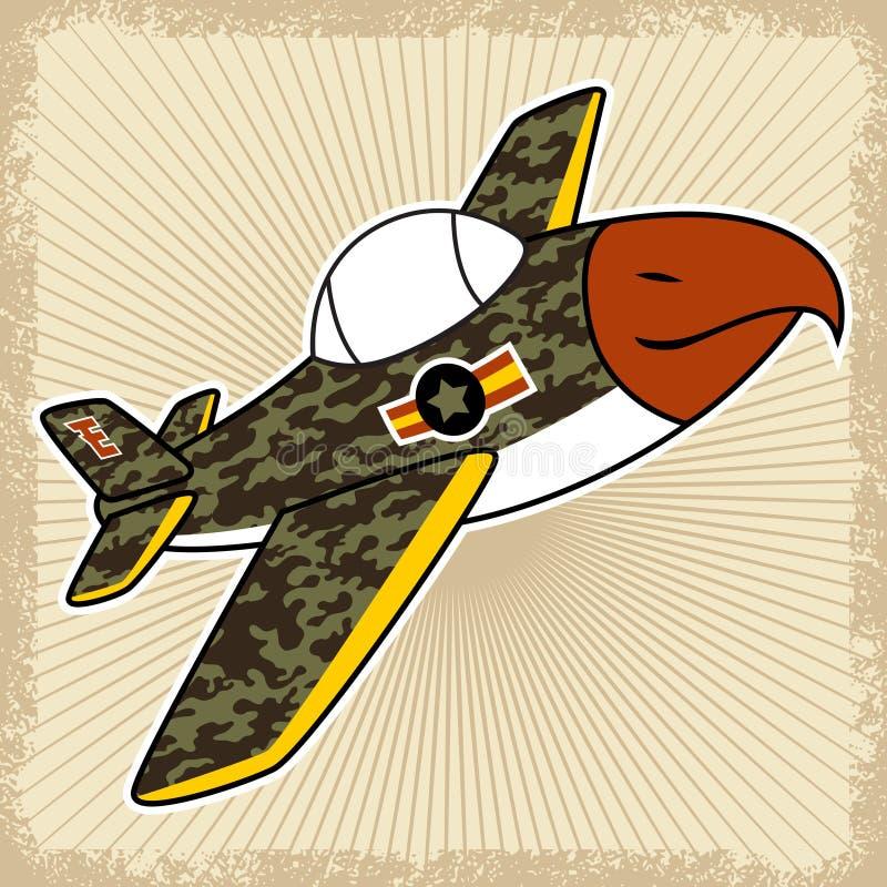 在泼溅物框架的战机动画片 向量例证