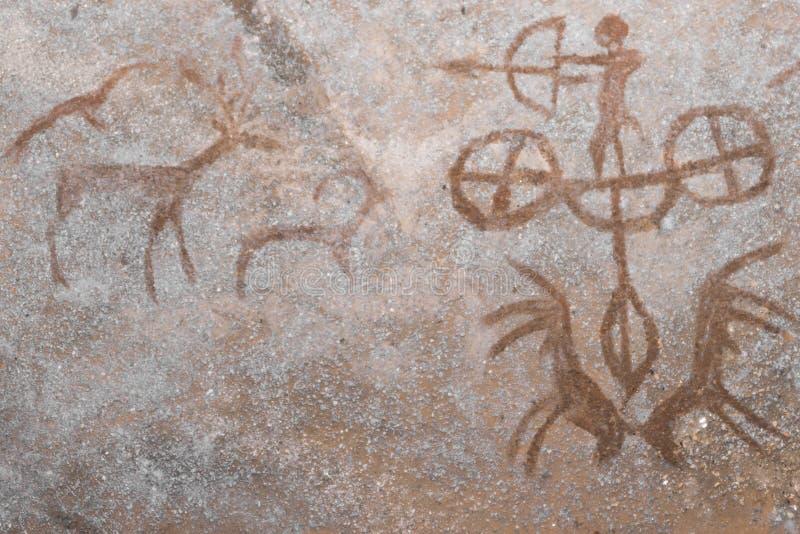 在洞的墙壁上的狩猎场面 向量例证