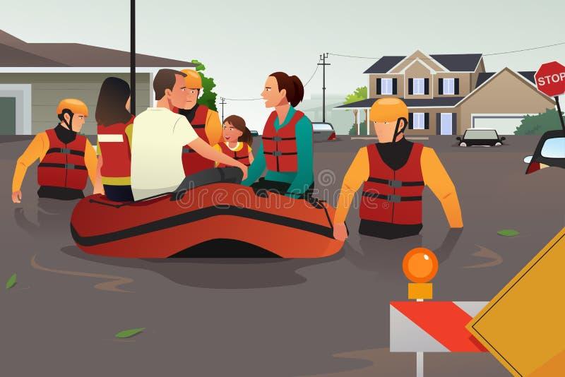 在洪水期间的救援队帮助的人民 皇族释放例证
