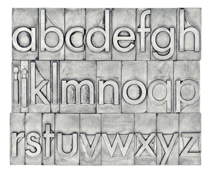 在活版金属类型的英语字母表 库存照片