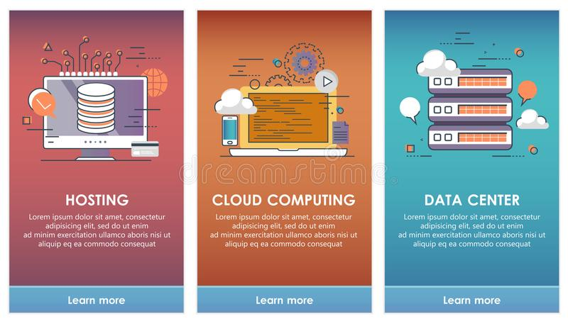 在流动app模板概念的搭乘屏幕上 云彩计算,主持,数据中心 皇族释放例证