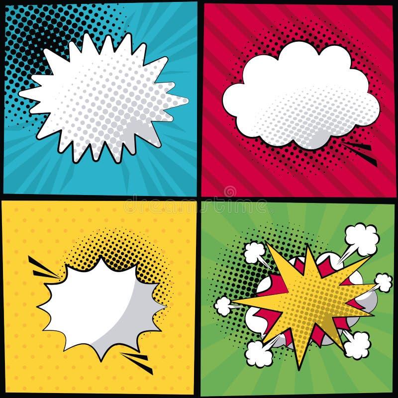 在流行艺术样式中间影调与条纹和对话呼出的多彩多姿的方形的横幅用不同的形式 向量例证