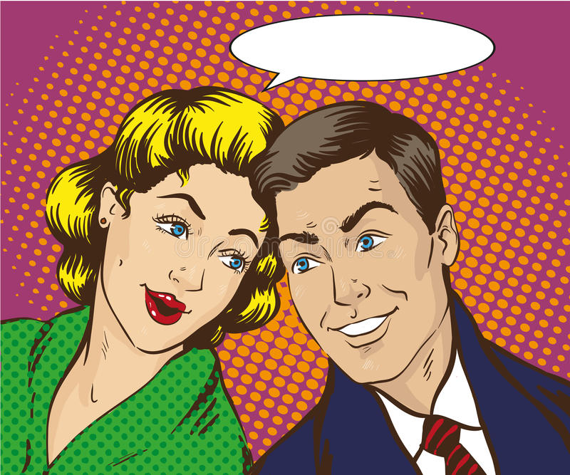 在流行艺术样式的传染媒介例证 妇女和人互相谈话 减速火箭可笑 闲话,传言谈话 向量例证