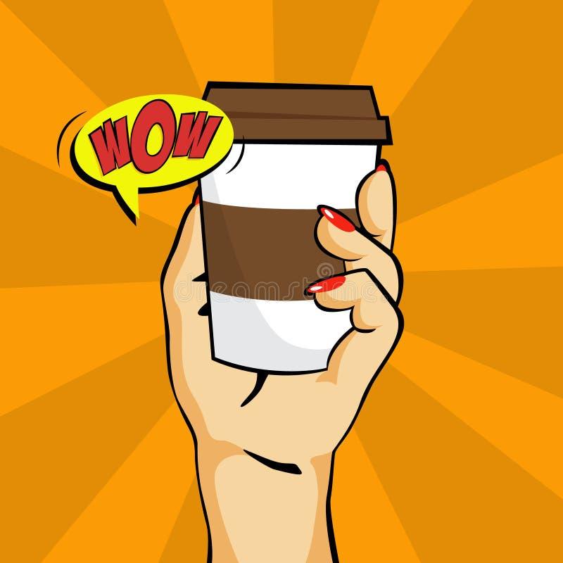 在流行艺术样式的咖啡饮料 库存例证