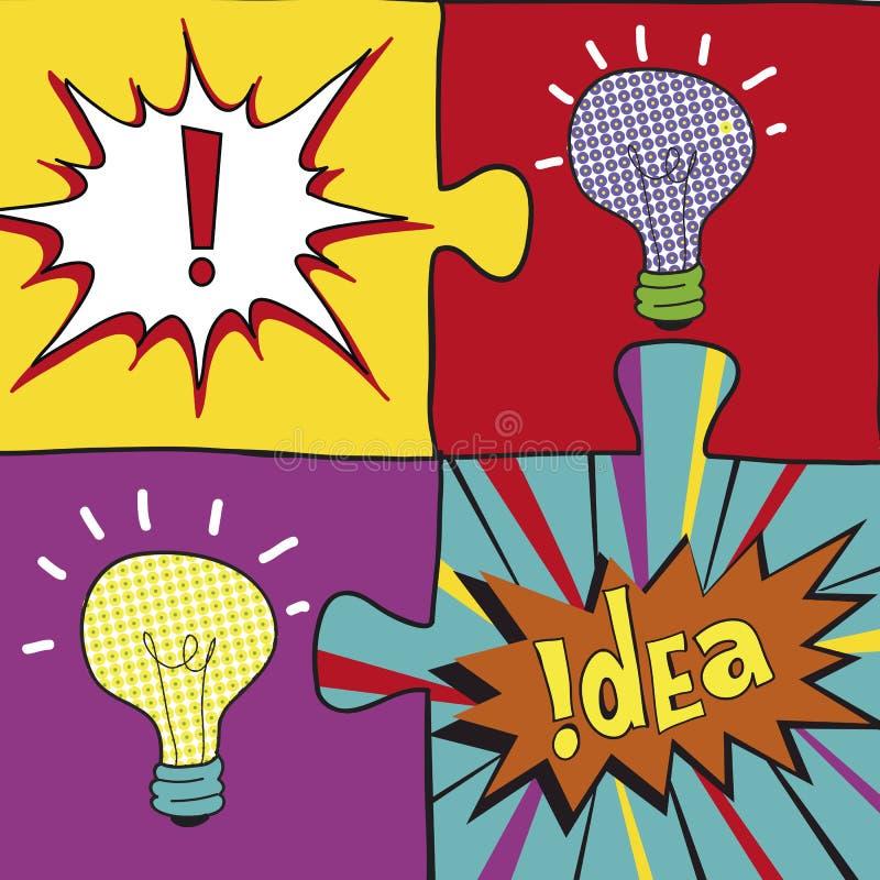 在流行艺术样式的想法难题 海报flayer盖子小册子的创造性的电灯泡想法概念背景设计,企业想法 皇族释放例证