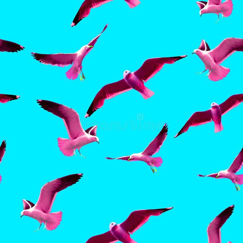 在流行艺术样式的无缝的样式与在蓝色背景的桃红色海鸥 向量例证