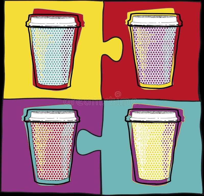 在流行艺术样式的杯 咖啡水杯 也corel凹道例证向量 当事人 喝热 向量例证