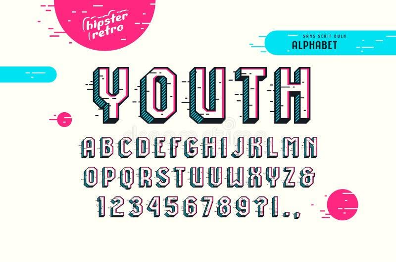 在流行艺术样式的装饰Sans Serif大块字体 皇族释放例证
