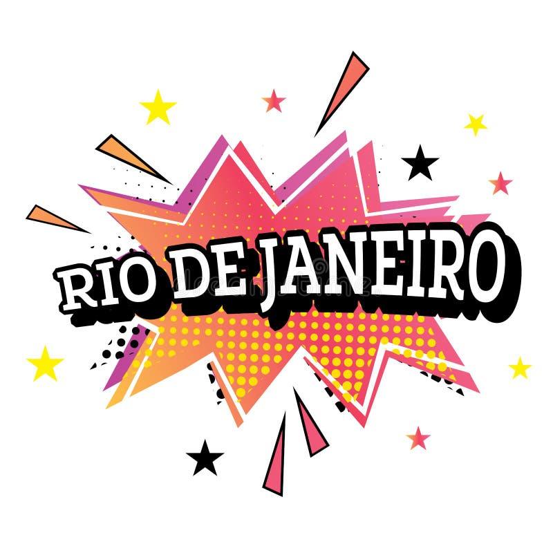 在流行艺术样式的里约热内卢可笑的文本 库存例证