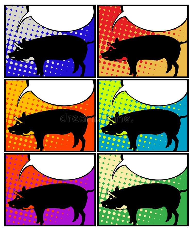 在流行艺术的猪 皇族释放例证