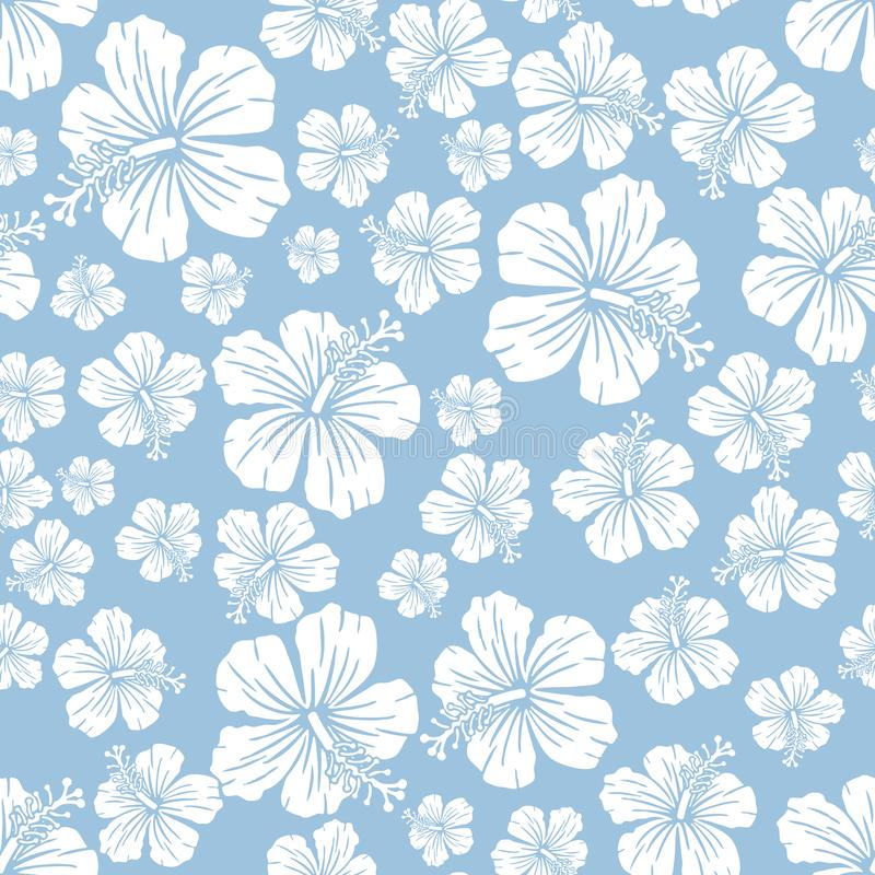 在浅兰的任意木槿的白色开花无缝的重复样式背景 库存图片