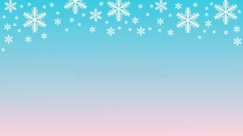 在浅兰的桃红色梯度背景拷贝空间3D例证的白色雪花 免版税库存图片