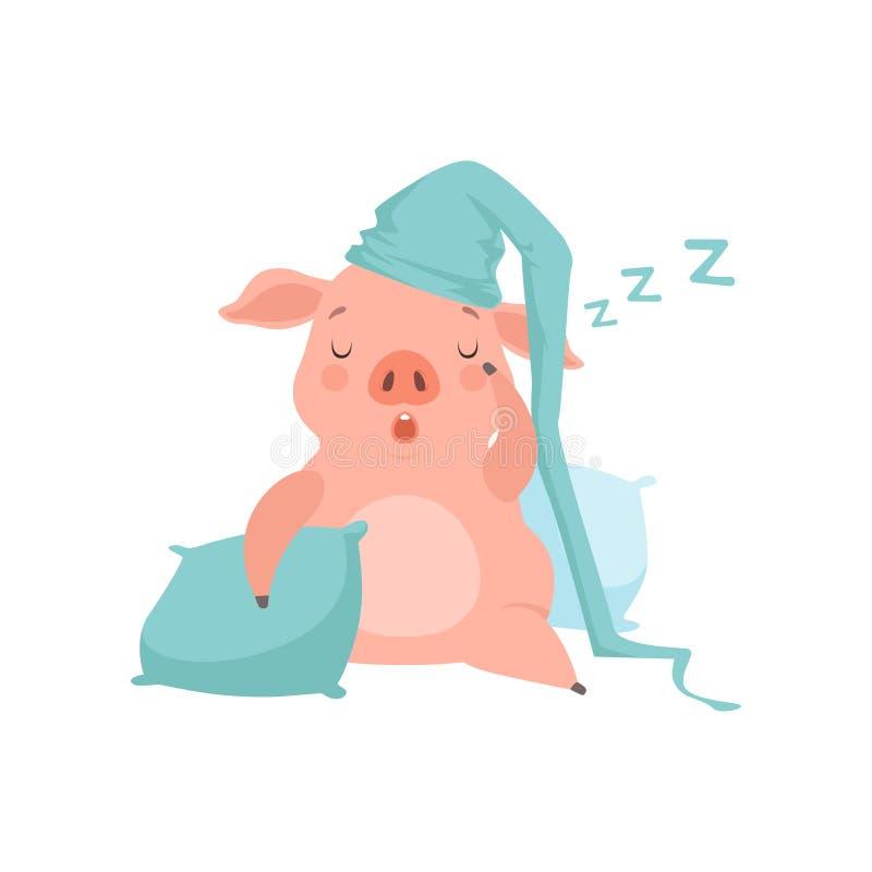 在浅兰的睡帽的逗人喜爱的小的猪睡觉在枕头,在a的滑稽的小猪漫画人物传染媒介例证的 库存例证