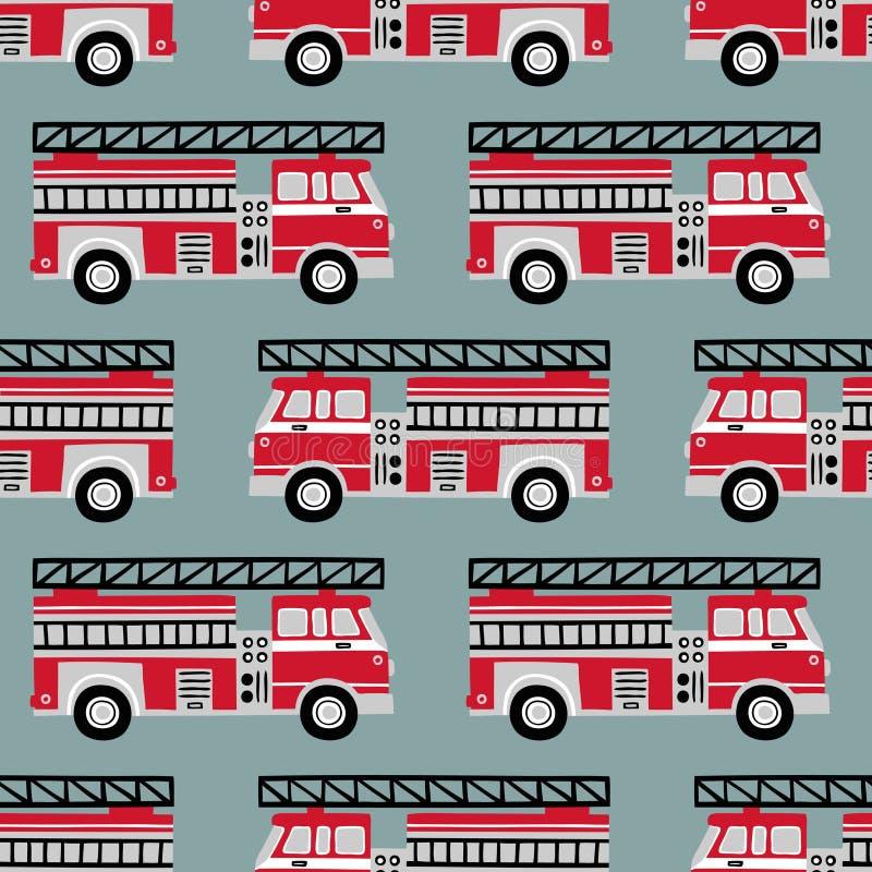 在浅兰的背景的手拉的消防车无缝的传染媒介样式 向量例证