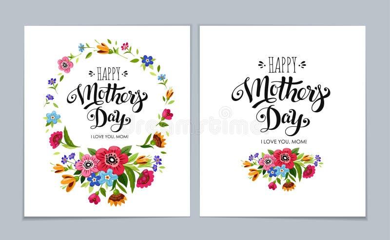 在浅兰的背景的模板愉快的母亲` s天卡片 在花框架的愉快的母亲节上写字 向量例证