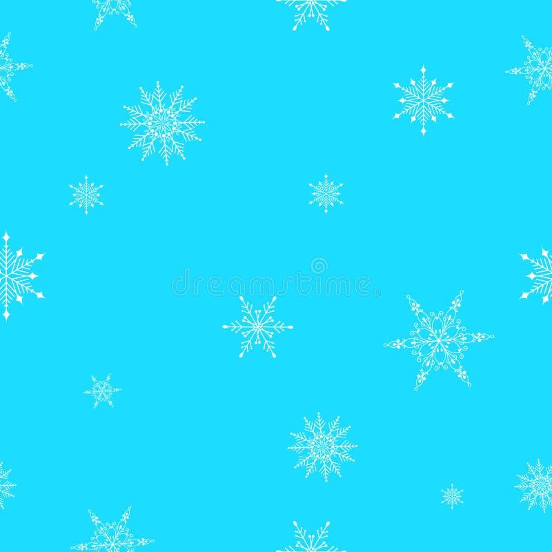 在浅兰的背景的飞行雪花 抽象雪花无缝的样式 落的雪 库存例证