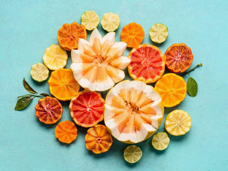 在浅兰的背景,顶视图的各种各样的柑橘水果 组成与一半橙色果子,柠檬,葡萄柚,普通话,石灰 库存照片