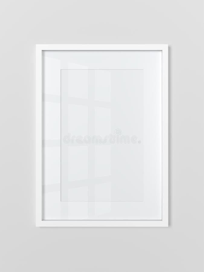 在浅灰色的墙壁上的空白白色长方形相框 ?? 库存例证
