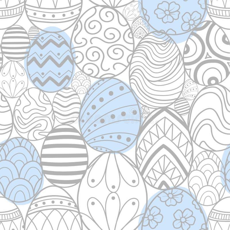 在浅灰色的概述和蓝色的复活节彩蛋飞行 库存例证