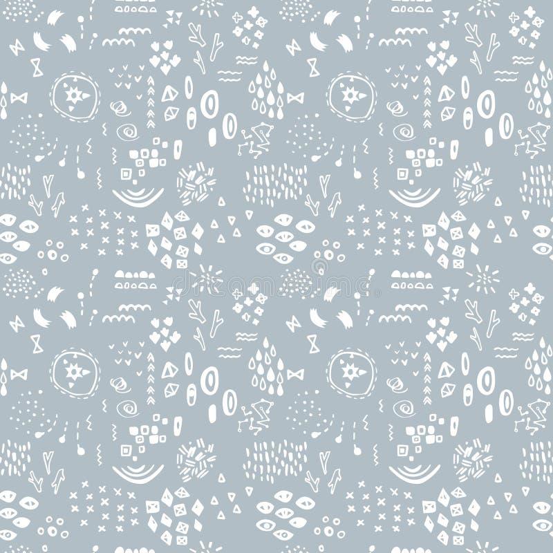 在浅灰色的背景的白色异想天开的剪影 模式无缝的向量 抽象现代纹理 手拉的图表 向量例证