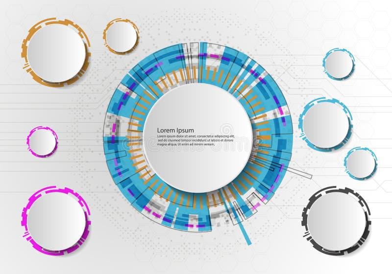 在浅灰色的背景,高科技数字技术概念的传染媒介摘要未来派电路板 空白的白色3d纸圈子 库存例证