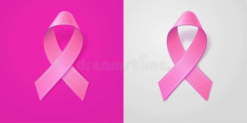 在浅粉红色和灰色背景的现实桃红色丝带 乳腺癌了悟标志在10月 横幅的模板 图库摄影