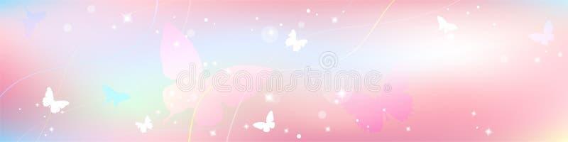在浅粉红色的淡色,与蝴蝶的甜爱题材的抽象春天夏天背景 向量例证