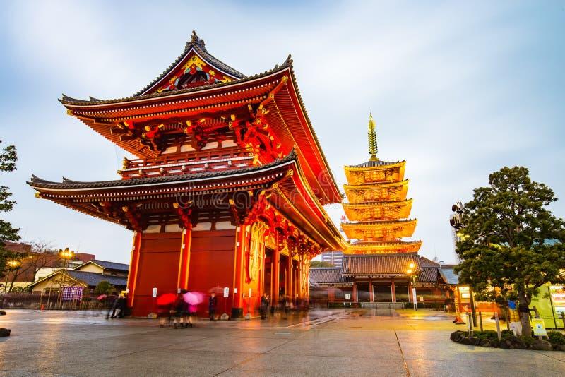 在浅草地区的Senso籍寺庙在东京,日本 库存照片