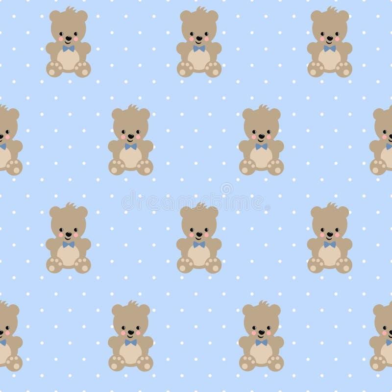 在浅蓝色圆点背景的玩具熊无缝的样式 向量例证