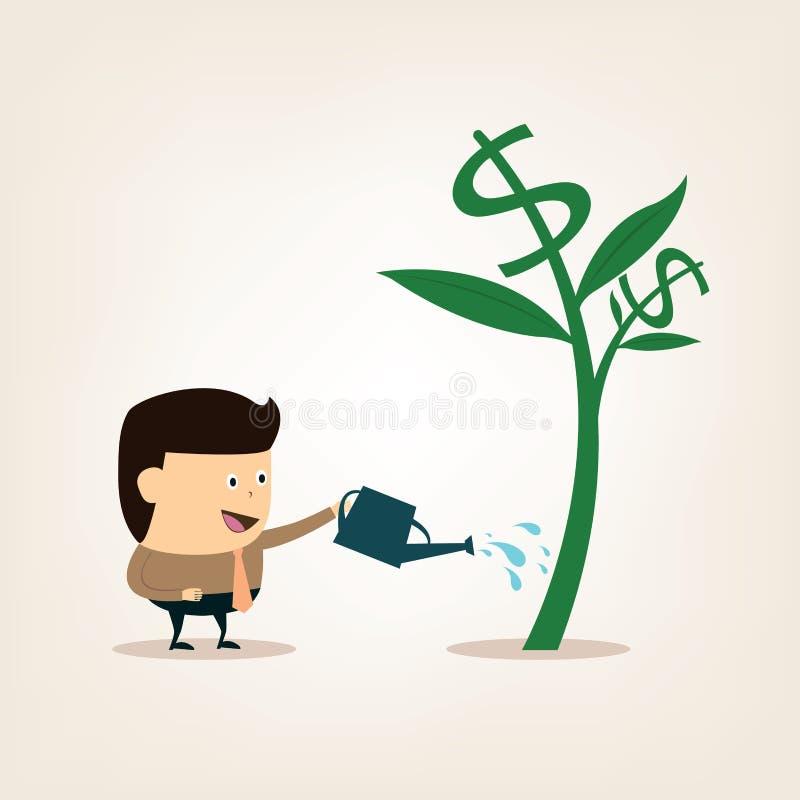在浇灌金钱树期间的动画片商人 向量例证