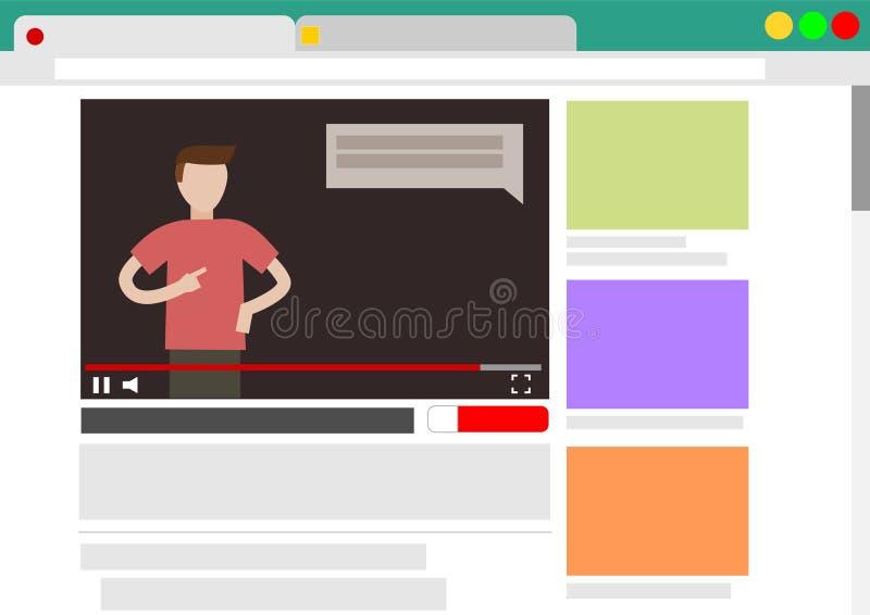 在浏览器的观察录影博克 免版税库存照片