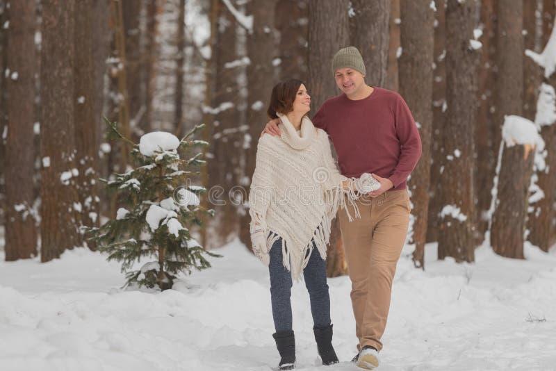 在浪漫步行的年轻夫妇在冬天森林里 库存照片