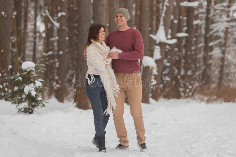 在浪漫步行的年轻夫妇在冬天森林里 免版税库存图片