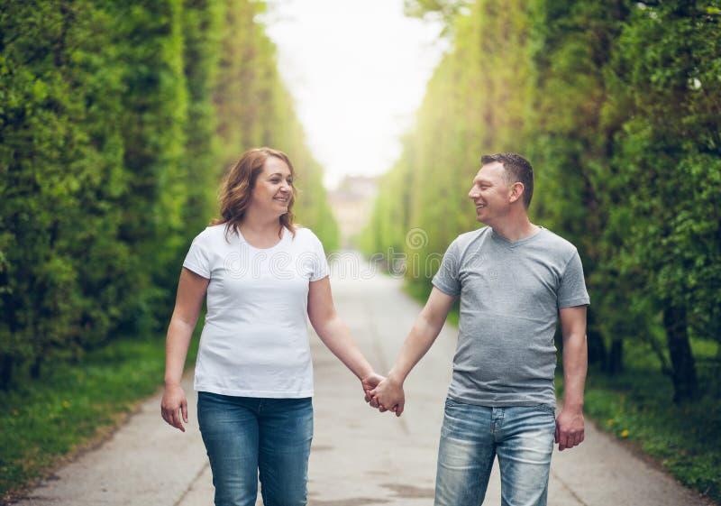 在浪漫步行的愉快的爱恋的夫妇户外在公园 免版税库存照片
