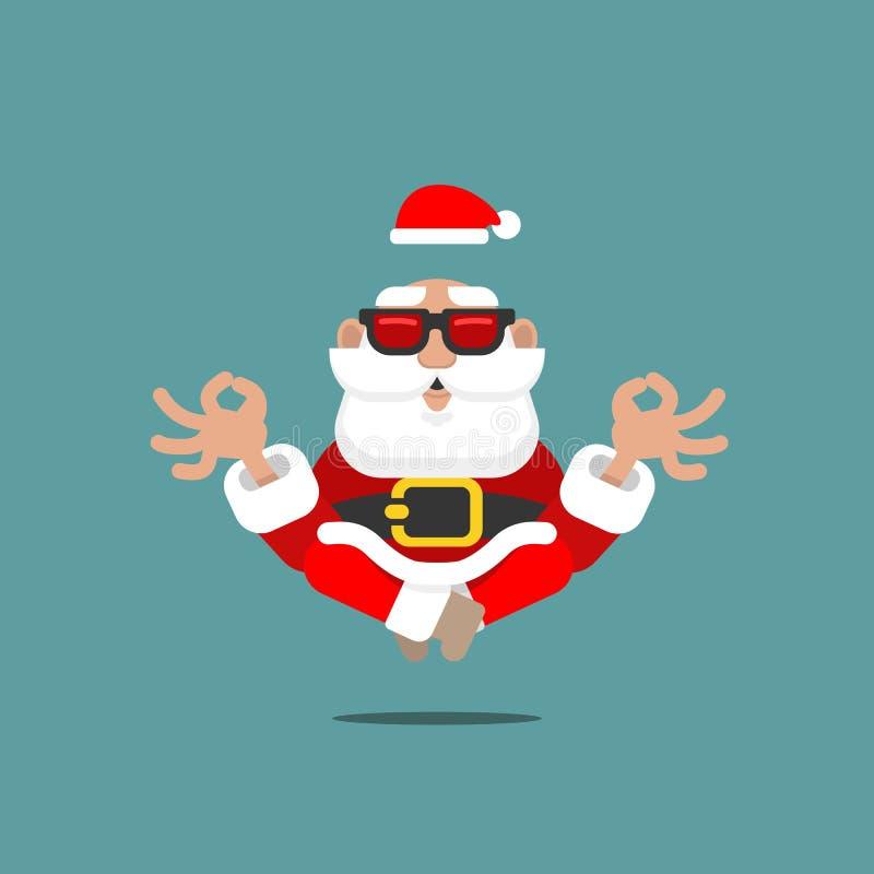 在浮动在与太阳镜的天空中的凝思的更旧的圣诞老人项目在象征spiritua的瑜伽的一个松弛精神位置 免版税图库摄影