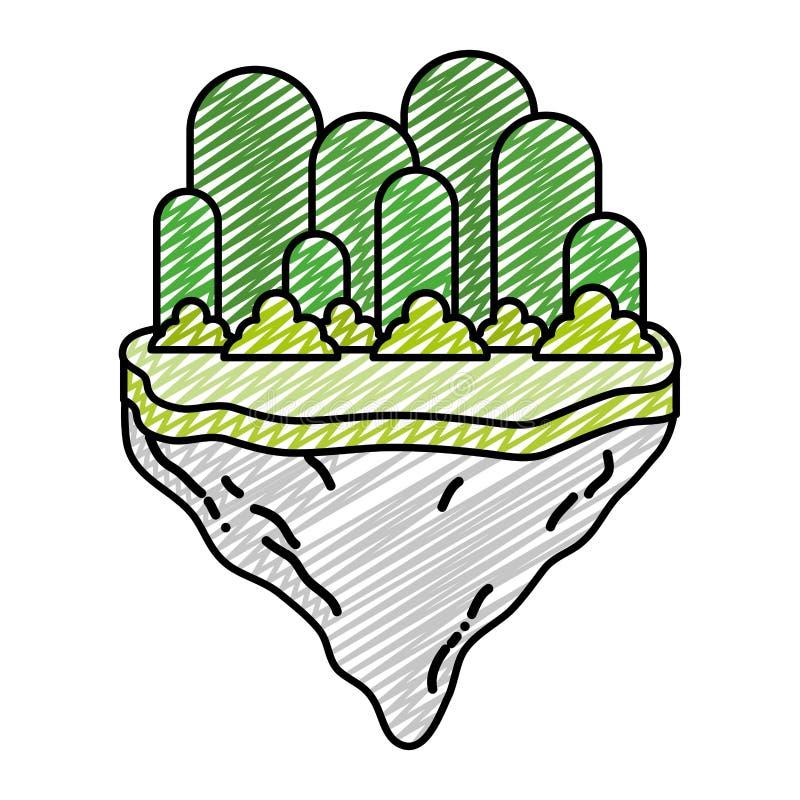 在浮游物海岛乱画与灌木的异乎寻常的山 向量例证