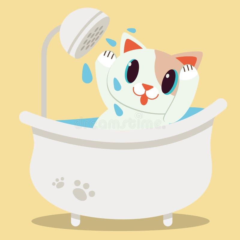 在浴缸的一只逗人喜爱的字符动画片猫 逗人喜爱的猫很可怕关于水 向量例证