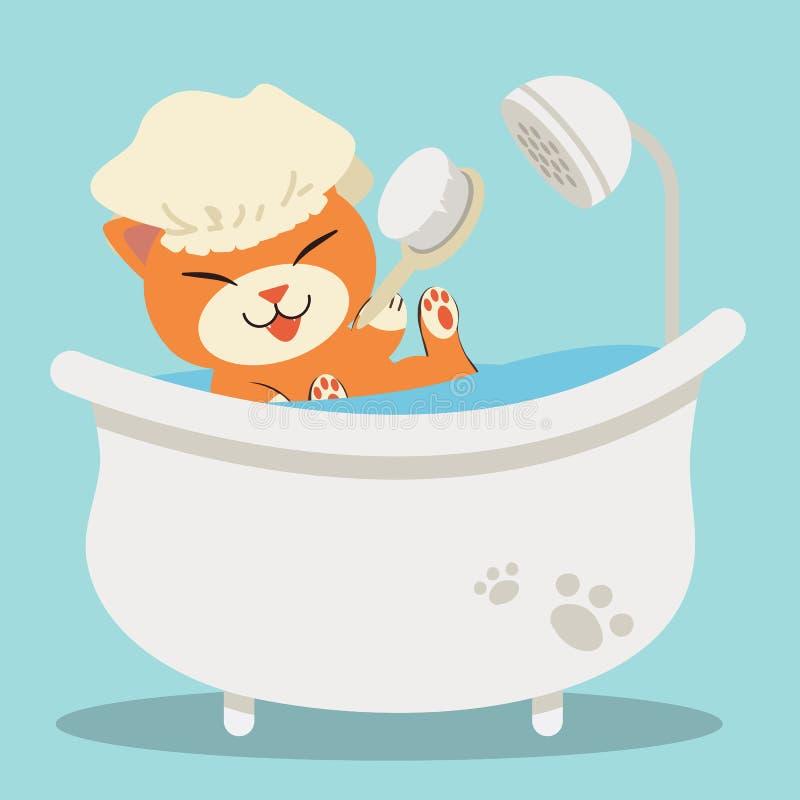 在浴缸的一只逗人喜爱的字符动画片猫 向量例证