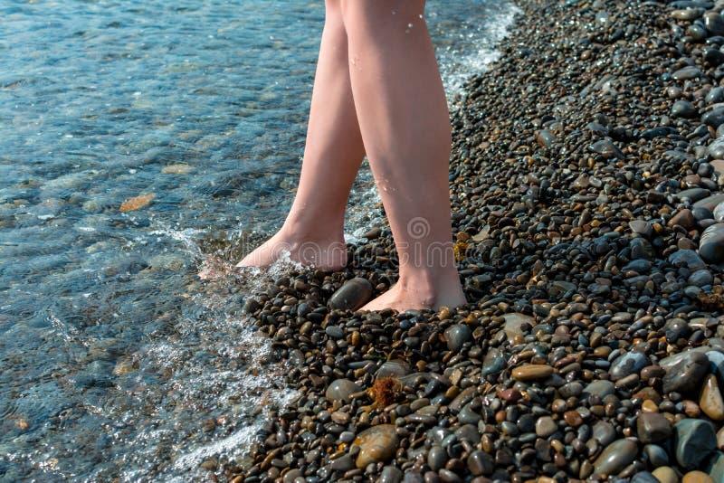 在海、假期和旅行概念年轻女孩的假日走入海,光秃的腿关闭,夏天冒险,Pebble海滩 库存图片