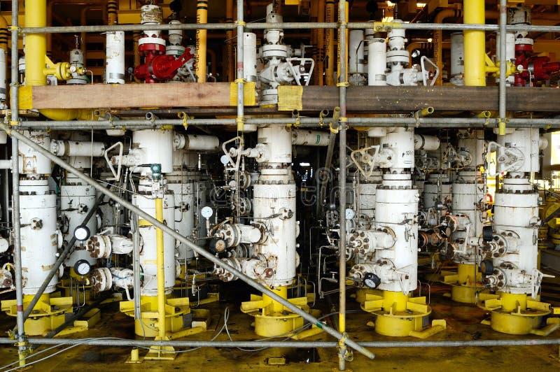 在海上钻机的管子天然气 免版税图库摄影