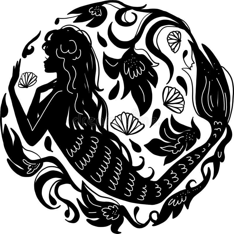 在海下的剪影美人鱼在花中 女孩被隔绝的图从童话的 皇族释放例证