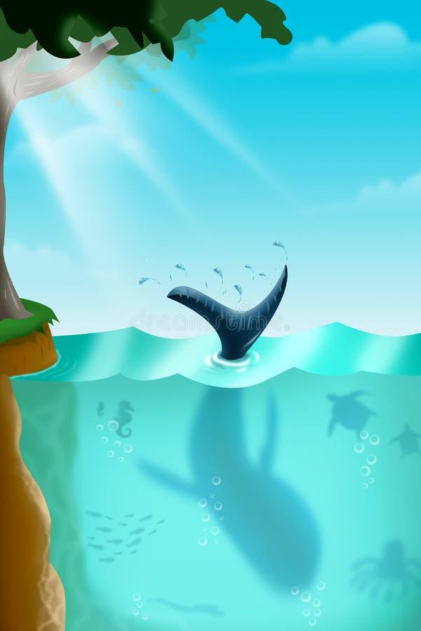 在海下的各种各样的海洋生物 库存例证