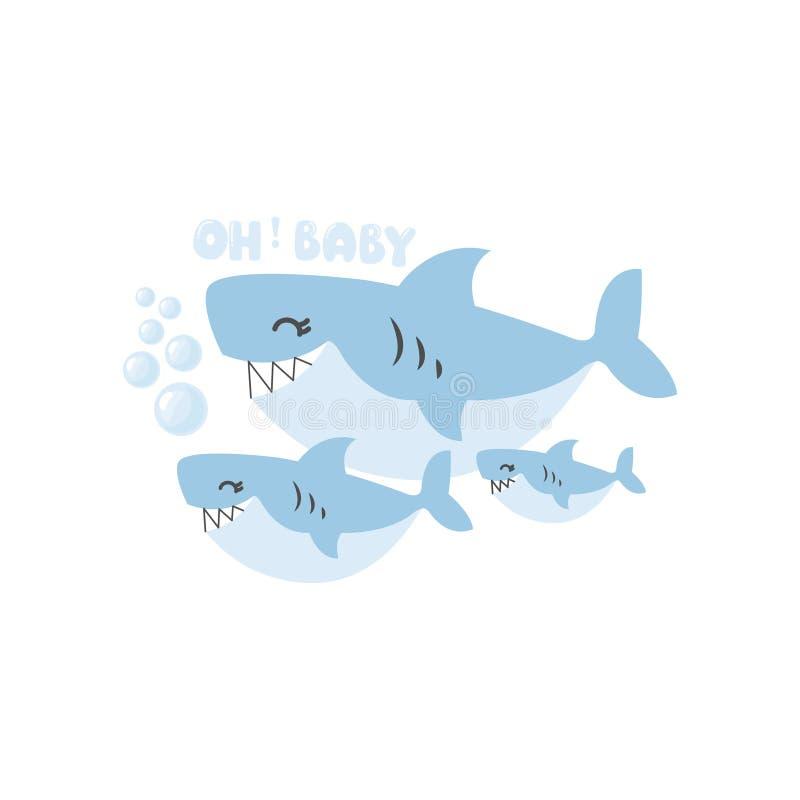 在海下的婴儿送礼会有逗人喜爱的鲨鱼动画片的 皇族释放例证
