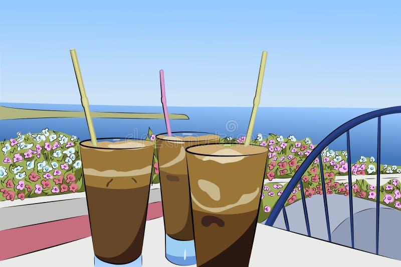 在海全景的背景的冷的咖啡frappe 向量例证