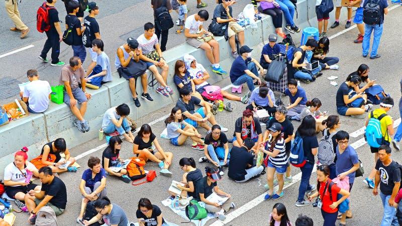 在海军部的示威者隔离,香港 免版税库存图片