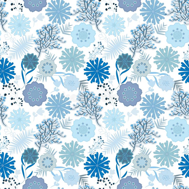 在海和冬天颜色的蓝色单色无缝的花卉样式瓦片 皇族释放例证